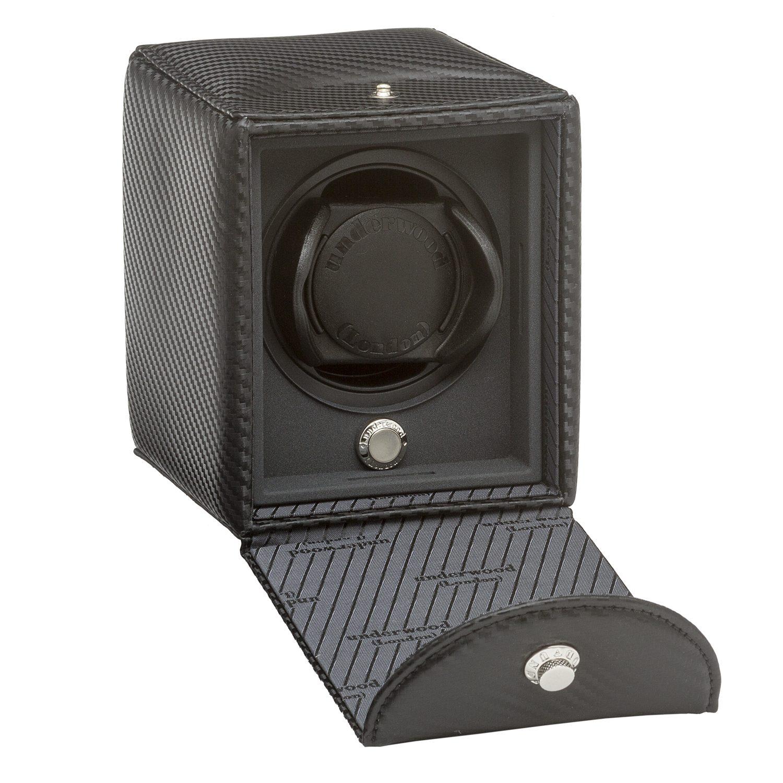 Single-watch-winder-leather-case-carbon-fiber