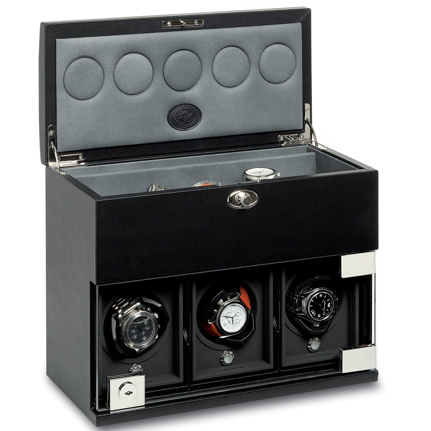 Watch-Winder-for-3-watches-with-watch-storage-compartment